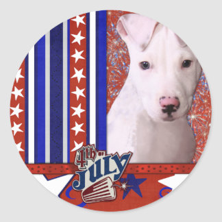 July 4th Firecracker - Pitbull Puppy - Petey Classic Round Sticker