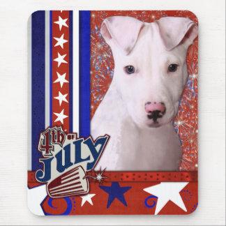 July 4th Firecracker - Pitbull Puppy - Petey Mouse Pad