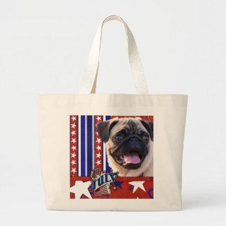July 4th Firecracker - Pug Tote Bags