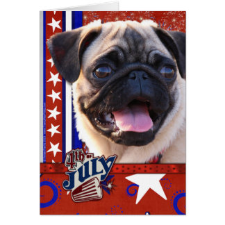 July 4th Firecracker - Pug Greeting Card