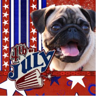 July 4th Firecracker - Pug Standing Photo Sculpture