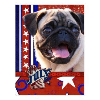 July 4th Firecracker - Pug Postcard