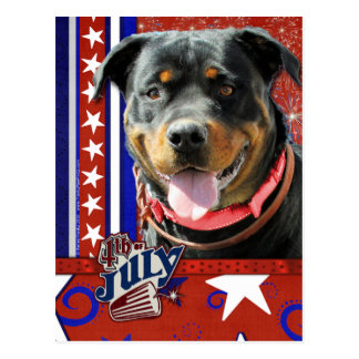 July 4th Firecracker - Rottweiler - SambaParTi Post Card