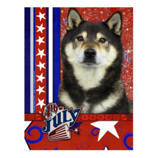 July 4th Firecracker - Shiba Inu - Yasha Postcard