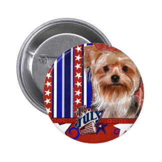July 4th Firecracker - Yorkshire Terrier Pinback Button