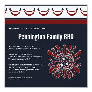 July 4th fireworks barbeque (bbq) party invitation