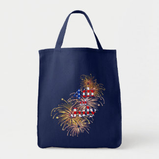 July 4th Fireworks Grocery Tote Bag