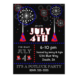July 4th Fireworks Party Invitations