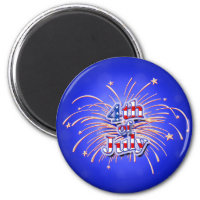 July 4th Fireworks Stars Magnet