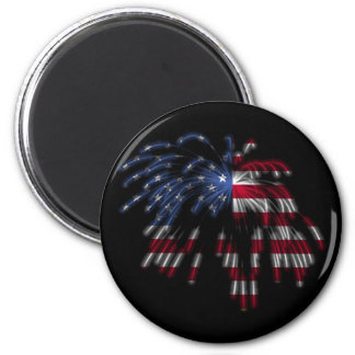 July 4th Fireworks & the American Flag in Lights 2 Inch Round Magnet