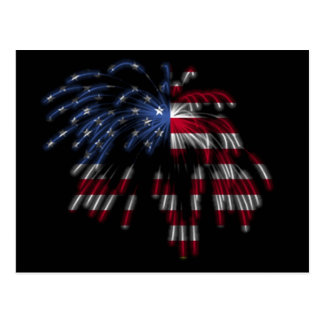 July 4th Fireworks & the American Flag in Lights Postcard