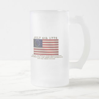 July 4th Flag Frosted Glass Beer Mug