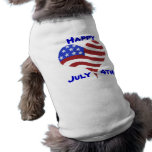 July   4th Flag Heart Design - Doggie Tee