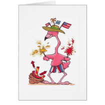 July 4th Flamingo Fireworks notecard