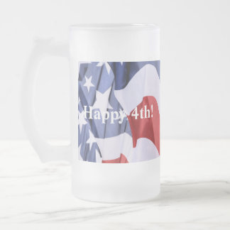July 4th frosted glass beer mug