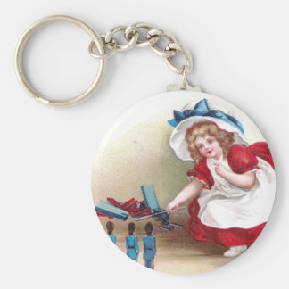 July 4th Girl and Toy Soldiers Basic Round Button Keychain