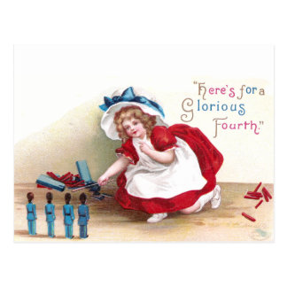 July 4th Girl and Toy Soldiers Postcard
