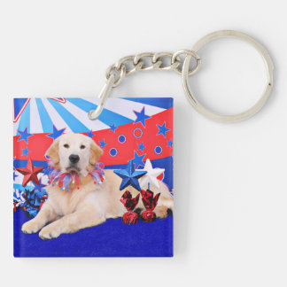 July 4th - Golden Retriever - Gunner Double-Sided Square Acrylic Keychain