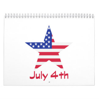 July 4th Independence day flag Calendar