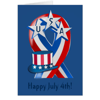 July 4th - Independence Day - General- Ribbon-Hat Card