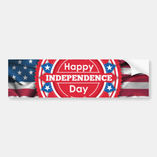 July 4th independence red shield emblem bumper sticker