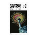 July 4th Lady Liberty Fireworks Postage Stamp