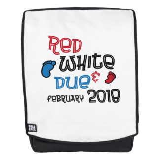 July 4th Maternity Pregnant Red White Due Feb 2018 Backpack