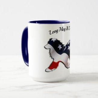 July 4th Mug; Red,White&Blue Samoyed Flag Cover Mug