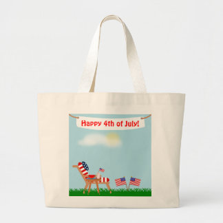 July 4th or Memorial Day American Flag Lawn Chair Large Tote Bag
