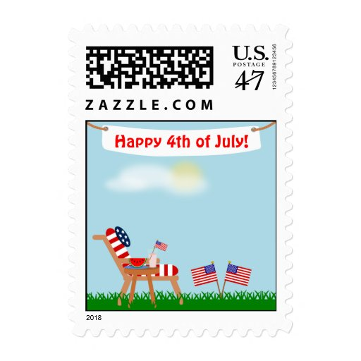 July 4th or Memorial Day American Flag Lawn Chair Postage