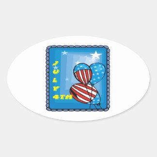 July 4th oval sticker
