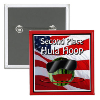 July 4th Party 2rd Place Hula Hoop 2 Inch Square Button