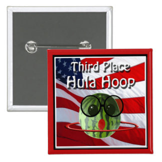 July 4th Party 3nd Place Hula Hoop 2 Inch Square Button