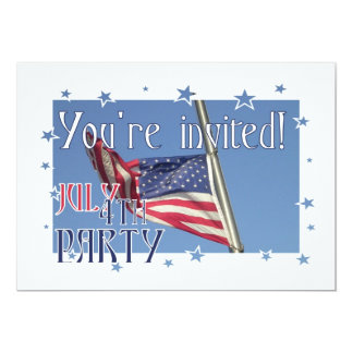 """July 4th Party!-American Flag with Star Frame 5"""" X 7"""" Invitation Card"""