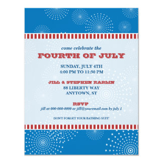 July 4th Party Explosion Party Card
