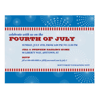 July 4th Party Explosion Party Postcard