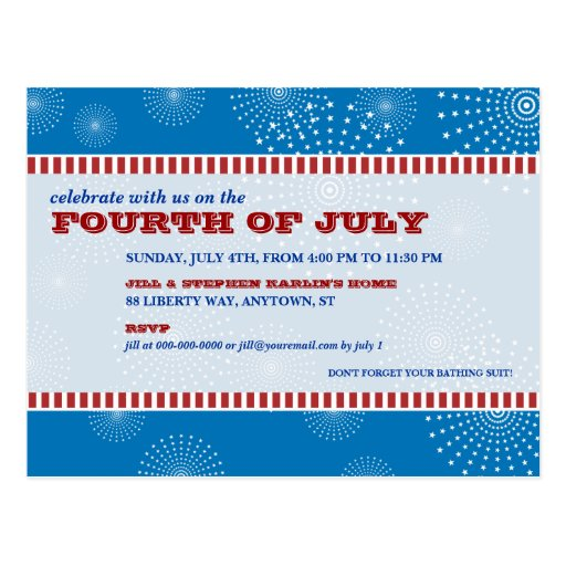 July 4th Party Explosion Party Postcards