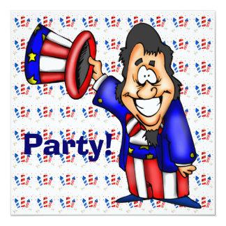"""July 4th Party Invitation 5.25"""" Square Invitation Card"""