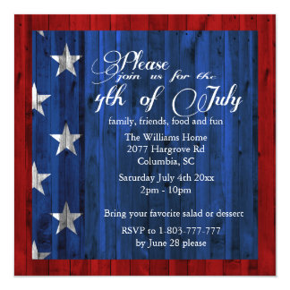 July 4th Party Invtation Card