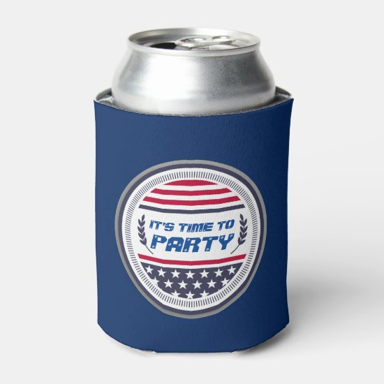 July 4th Party time emblem Can Cooler