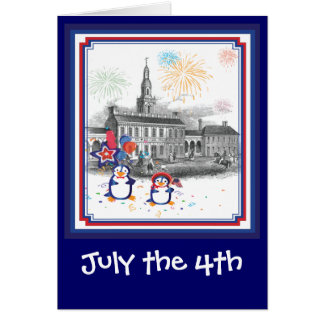 July 4th Penguins Card