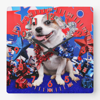 July 4th - Pitbull X - Opie Square Wall Clock