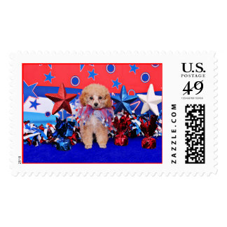 July 4th - Poodle - Lily Postage Stamps