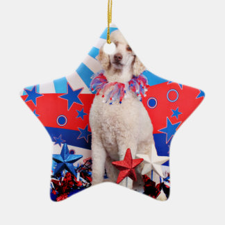 July 4th - Poodle - Lucy Christmas Tree Ornament