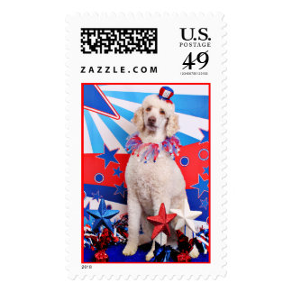July 4th - Poodle - Lucy Postage Stamp