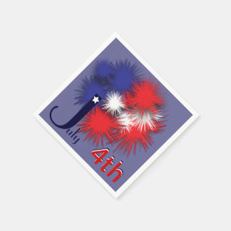 July 4th puffy flag disposable napkins