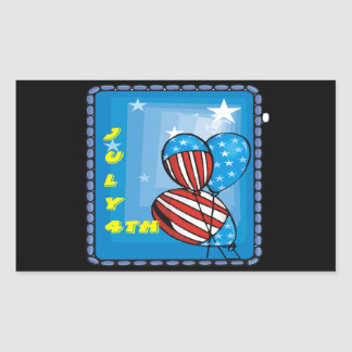 July 4th rectangular sticker