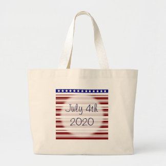 July 4th Red White and Blue Candystripe Canvas Bags
