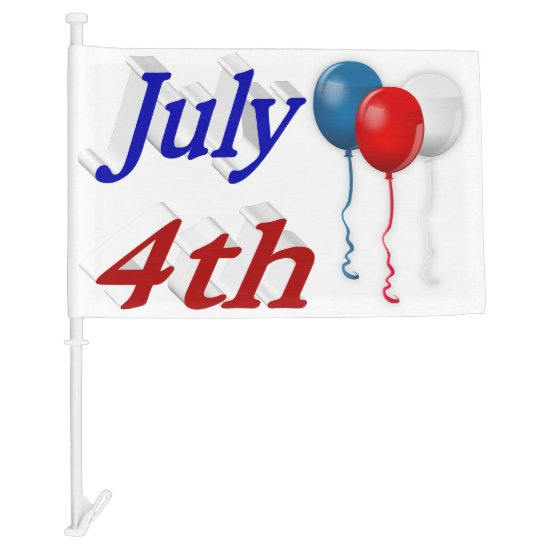 July 4th Red White Blue Balloons 3D Car Flags