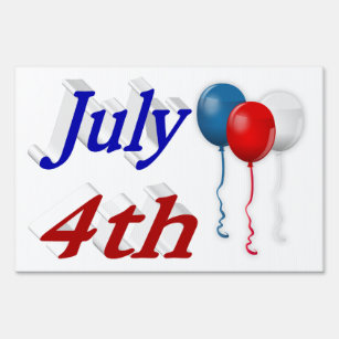 July 4th Red White Blue Balloons 3D Yard Sign